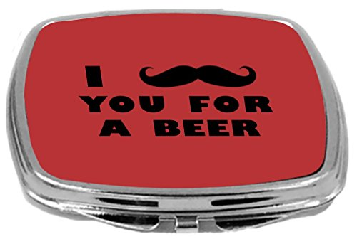 Rikki Knight I Mustache You for a Beer Design Compact Mirror, Red, 2 Ounce