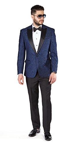 - Slim Fit 1 Button Paisley Peak Satin Lapel Men's Tuxedo Azar 1778 (38 Regular 32 Waist 32 Length, Blue Paisley)