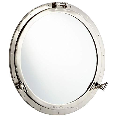 Nagina International Metal Crafted Nickel Plated Aluminum Porthole Bathroom Decor Mirror (30 -