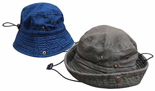 N'Ice Caps Kids Distressed Washed Denim Cotton Adjustable Bucket Hat 2PR Pack (56cm (22