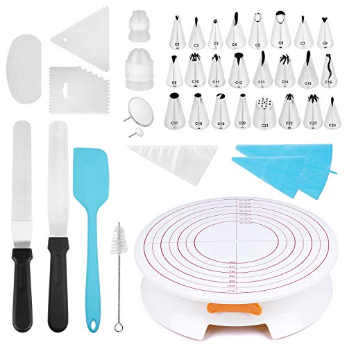 Cake Turntable with Lock/Brake Cake Decorating Stand with Icing Tips Set Angled Icing Spatula and Comb Icing Smoother, Baking Cake Decorating Supplies