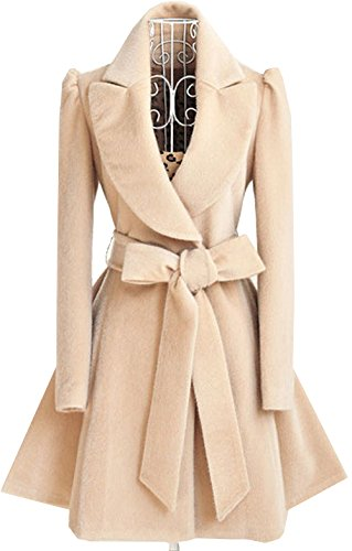 Puff Sleeve Wrap (S&S Women's Puff Sleeves Skirted Hem Dress Coat With Bows Wool Wrap)