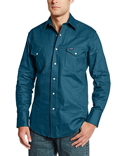 Wrangler Men's Authetic Cowboy Cut Work Western Shirt-9, Dark Teal, 3X