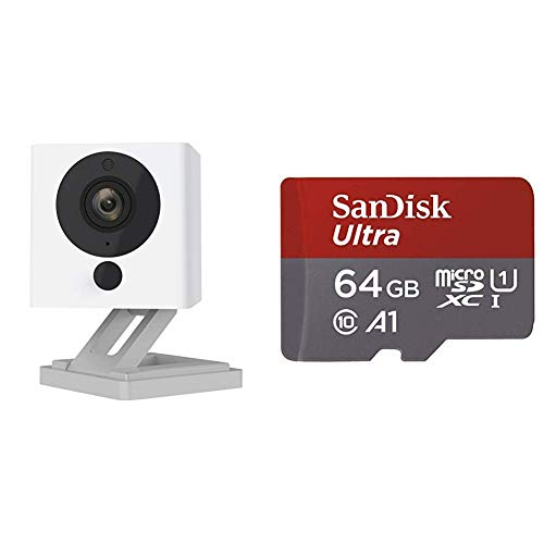Wyze Cam 1080p HD Indoor Wireless Smart Home Camera with Night Vision, 2-Way Audio (Pack of 2) & SanDisk Ultra 64GB microSDXC UHS-I card with Adapter - 100MB/s U1 A1 - SDSQUAR-064G-GN6MA