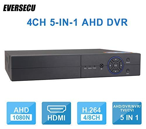 4CH 1080P Lite 5-in-1 HD Analog Hybrid DVR&NVR Support 1080P IP Camera+1080P AHD/TVI/CVI Camera and 960H Analog Camera Standalone DVR CCTV Surveillance Security System Video Recorder (No HDD) by EVERSECU