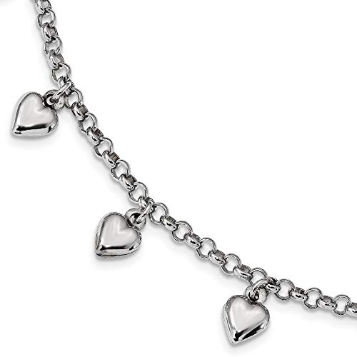 Sterling Silver Rhodium Plated Polished Puffed Heart Charm Bracelet