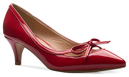 Heeled Party Women Work Dress Bow Pumps Kitten Mid D'orsay Closed Pump K s Red Toe Olivia Classic Heel pCqxZOnw