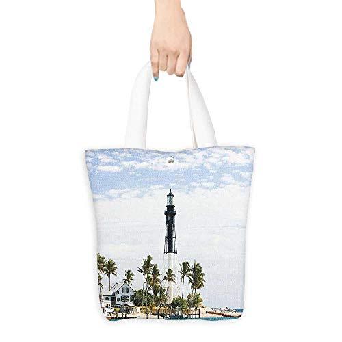Ecofriendly Shopping Bag United States Hillsboro Lighthouse Pompano Beach Florida Atlantic Ocean Palms Coast Blue White Green (W15.75 x L17.71 (Best Coast Led Shower Heads)