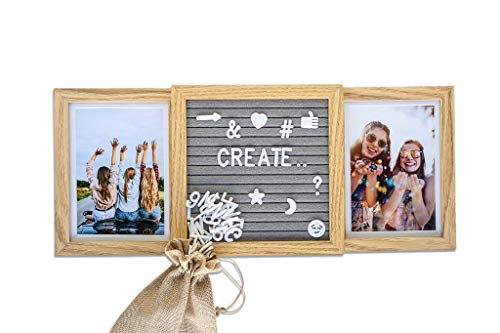 (Picture Frame with Genuine Felt Letter Board: Photo Collage 4x6 inch Pictures - Personalize Memories - Wooden Photo Frame - Customizable for Family, Adventure, Best Friends, Memories, Love)