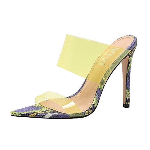 Vivi Womens Fashion Sexy High Pointed Toe Heels Slip on Dress Sandals (9 B(M) US, Yellow Snake Print)