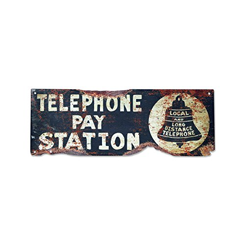(Plasma Cut Steel Vintage Telephone Sign Metal Sign Retro Restaurant Rustic Metal Sign Business Home Decor Wall Art)
