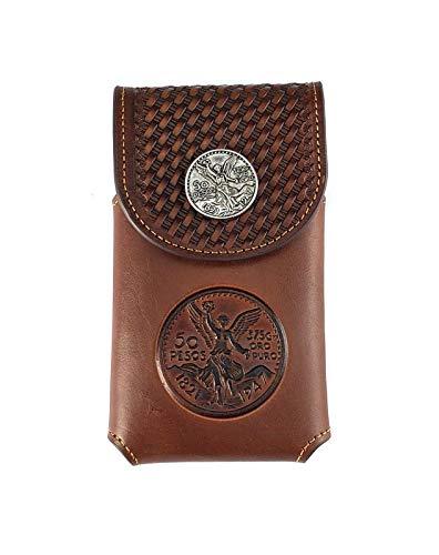 Western Tooled Basketweave genuine Leather mexican peso Belt Loop Cellphone Holster Case (brown)