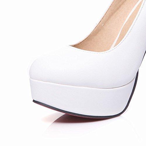 MissSaSa Donna Scarpe col Tacco Alto Semplice BLACK WHITE (34, bianco)