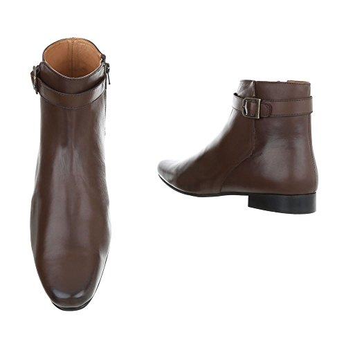 Stiefeletten Leder Herrenschuhe Chelsea Boots Blockabsatz Blockabsatz Reißverschluss Ital-Design Boots Braun