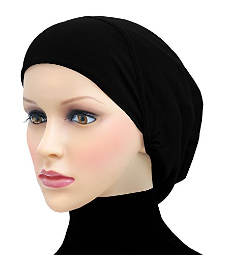 Middle Eastern Mall Cotton Beanie Snood Large Hijab Chemo Cap (Black)