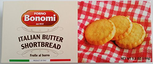 FORNO BONOMI - ITALIAN BUTTER SHORTBREAD ROUND BISCUITS - NET WT 5.4 OZ (150 G) - FROLLE AL BURRO - PRODUCT OF ITALY
