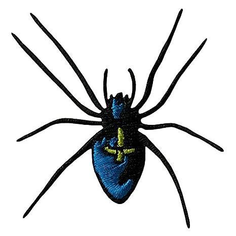 Aufnäher // Bügelbild schwarz Spinnennetz Spinne im Netz 7,0 x 7,0 cm Patch