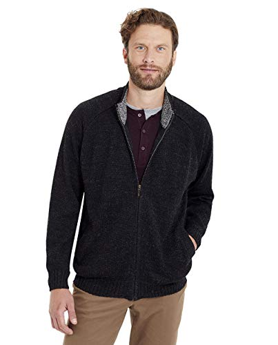 Invisible World Men's 100% Alpaca Wool Cardigan Sweater Zip Mock Turtleneck XXL