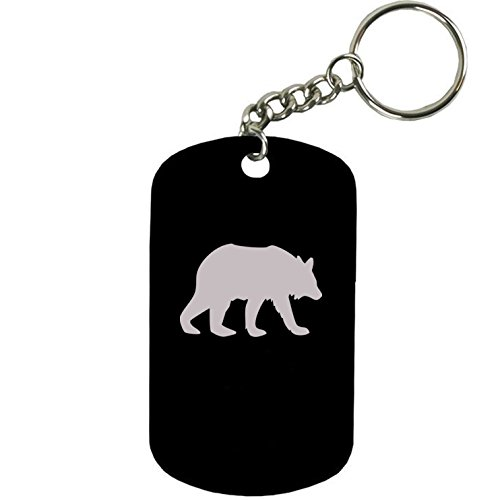Black Bear Keychain - Personalized Engraved Custom Bear Silhouette 2-inch Colored Anodized Aluminum Customizable Keychain Dog Tag, Black
