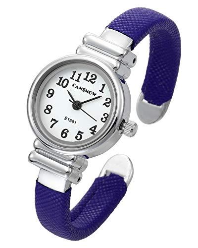 Top Plaza Kids Girls Casual Chic Simple Arabic Numeral Bangle Cuff Bracelet Analog Quartz Watch for Small Wrist,5.5 Inches,Blue (Quartz Watch Bangle Bracelet)