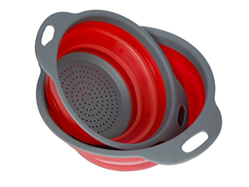 Vipe Collapsible Colanders 2pcs Kitchen Strainer Bowl for Vegetables Fruit Kitchen Tool (Red) (Pasta Basket Strainer compare prices)