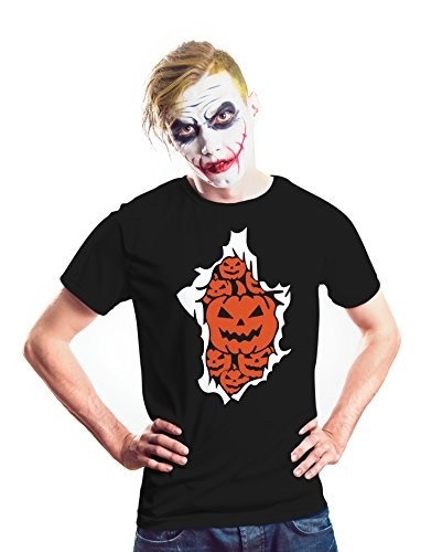 Mens Scarcecrow Pumpkin Halloween T Shirt | Black, L