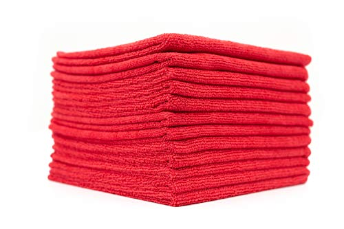 (12-Pack) 12 in. x 12 in. Commercial Grade All-Purpose Microfiber Highly Absorbent, LINT-Free, Streak-Free Cleaning Towels - THE RAG COMPANY - Rag Red