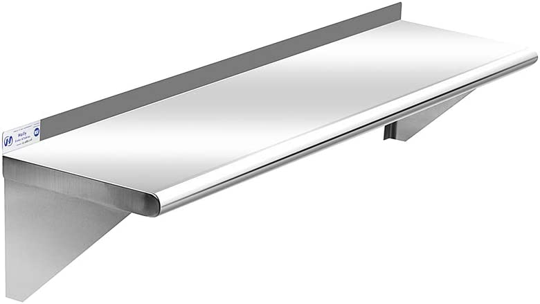 Commercial Stainless Steel Kitchen Shelf 12 x 36 Inches, 250 lb, NSF Certificated Wall Mount Shelving for Home, Hotel and Restaurant