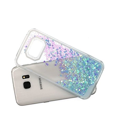 Samsung Galaxy 7 Phone Bling Cases Water Filled Case Glitter Quicksand Stars (Blue/Purple Glitter Hearts) (Filled Case)