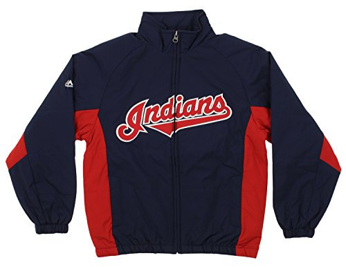 Outerstuff MLB Youth's Double Climate Full Zip Jacket, Cleveland Indians X-Large (18)