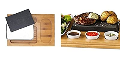 Poraty Cooking Stone- Lava Hot Stone Cooking Platter and Cold Lava Rock Hibachi Grilling Stone w Ceramic Side Dishes and Bamboo Platter- 7 Pcs Set by Poraty