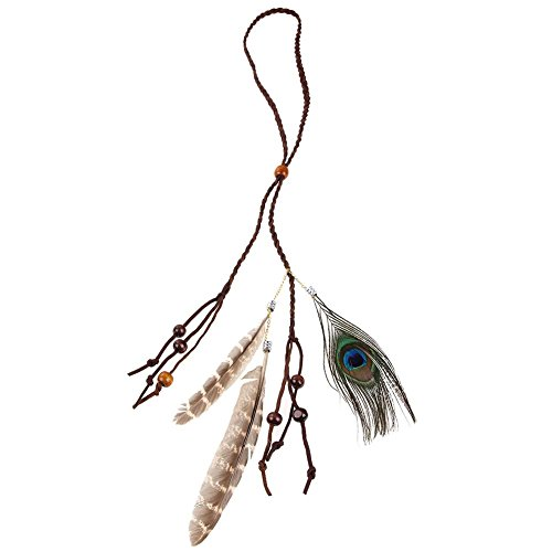 Whitelotous Boho Chic Feather Headband - Women Girl Headdress -American Indian Tribal Tassel Hairband - Festival Makeup Decor - Hair Rope Headpieces Hippie Party - Pet Toy (leather (Hippie Costumes Makeup)