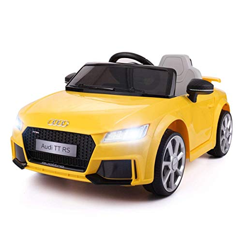 JAXPETY Yellow Audi TT 12V Electric MP3 LED Lights RC Remote Control Kids Ride On Car Licensed (Radio White Noise Pedal)