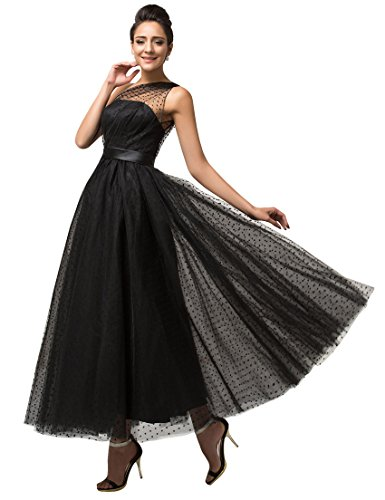 [Dressesonline Women's 1980s Prom Dresses Tea Length Evening Dresses YX033BK-US8] (1980s Dress)