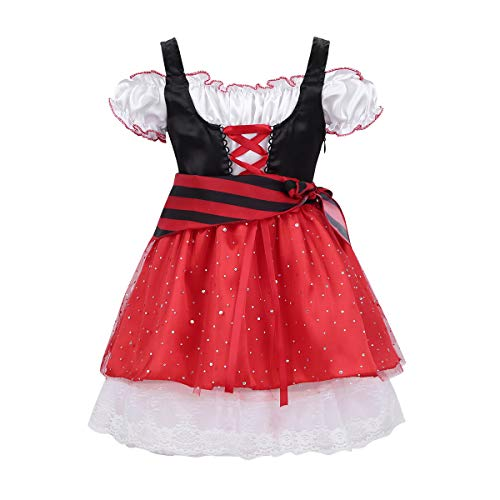 (dPois Kids Girls' Little Pirate Halloween Cosplay Dressing Up Costume Off Shoulder Short Sleeves Fancy Tutu Dress Black&Red 6-8)