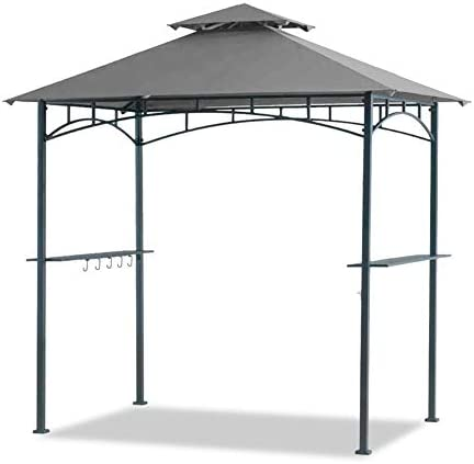 Warmally 5 x8 Grill Gazebo Double Tiered Canopy Outdoor Patio BBQ Tent and Steel Frame
