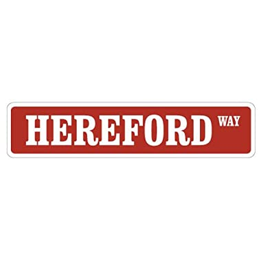 [SignJoker] HEREFORD Street Sign cow cattle signs farmer farm novelty Wall Plaque Decoration