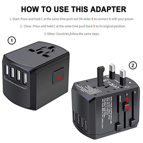 41bi53KhdYL - Travel Adapter, Universal Plug Adapter for Worldwide Travel, International Power Adapter, Plug Converter with 4 USB Ports, All in One Wall Charger AC Socket for European UK AUS Asia Cell Phone Laptop
