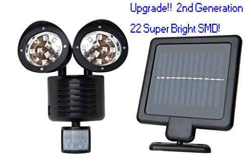 Upgrade Solar Powered Motion Sensor Lights 22 SMD Garage Outdoor Security Flood Spot Light (Black) (Black Solar Panel)