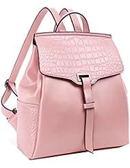 Sweetmeet Womens Genuine Leather Backpack Purse Satchel School Bag Crocodile