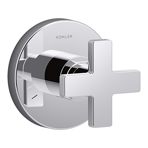 (KOHLER K-T73140-3-CP Composed Transfer Valve Trim with Cross Handle, Valve Not Included, Polished)