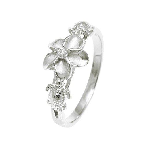 Sterling silver 925 Hawaiian plumeria flower cz 2 turtle ring rhodium plated size 7.5