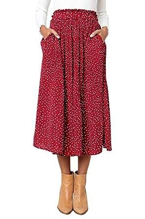 PRETTYGARDEN Women's Fashion High Elastic Waist Polka Dot Printed Pleated Midi Vintage Skirts with Pockets (Red, Small)