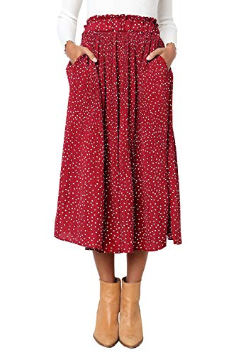PRETTYGARDEN Women's Fashion High Elastic Waist Polka Dot Printed Pleated Midi Vintage Skirts with Pockets (Red, X-Large)