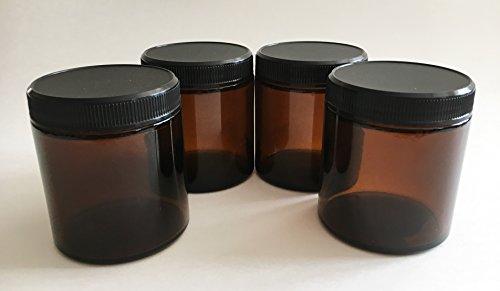 Amber Jars Glass - Medical Herb/Spice/Stash Jar-4 oz. Set of 4 by SbS