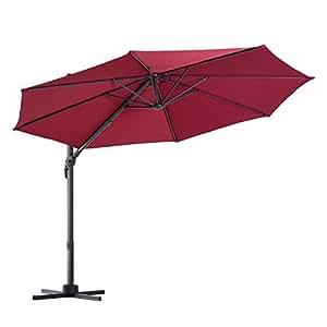 Outsunny Offset Rotating Outdoor Patio Umbrella Outdoor Garden with Tilt and Crank 10ft