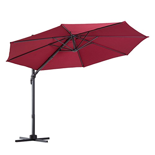 Outsunny Offset Rotating Outdoor Patio Umbrella Outdoor Garden with Tilt and Crank 10ft (Umbrellas Large Deck)