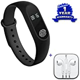 Captcha Lenovo Zuk Z1 Compatible Certified Activity Tracker Bluetooth Smart Sports Fitness Tracker/Heart Rate Monitor/Sleep/Pedometer Wristband & Earphones With Mic (1 Year Warranty)