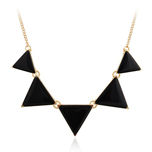 JANE STONE Fashion Black Bib Necklace Triangle Statement Simple Necklace (Fn0568-Black) ()