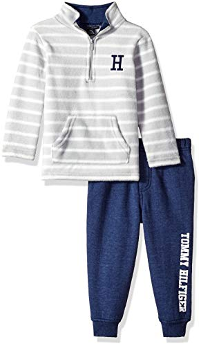 Tommy Hilfiger Baby Boys 2 Pieces Pants Set, Gray/Navy, 12M ()
